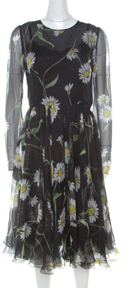 Dolce & Gabbana Black Sunflower Print Silk Gathered Midi Dress M