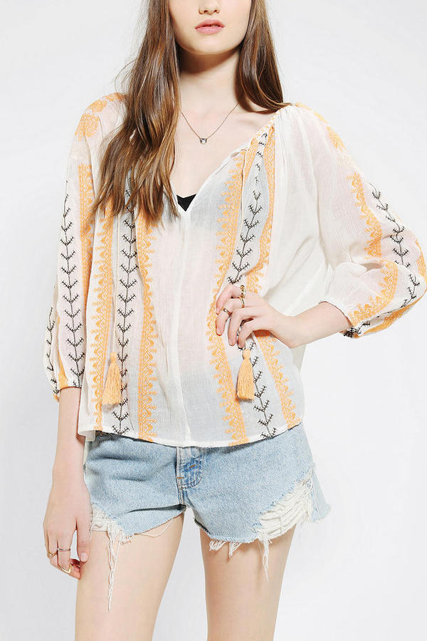 Urban Outfitters Hazel Embroidered Gauze Tunic
