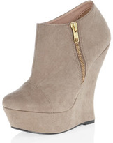 Dorothy Perkins Taupe curved wedge ankle boots