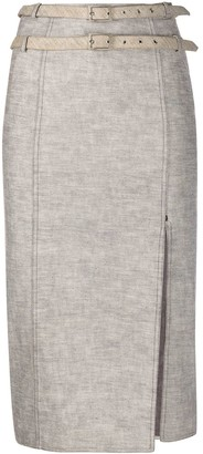Christian Dior 2000s Pre-Owned Double-Belted Pencil Skirt