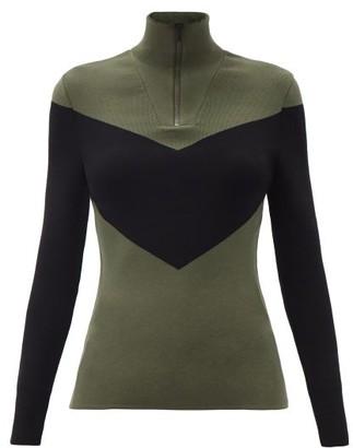 Fusalp Scarlett Chevron Quarter-zip Sweater - Black Green