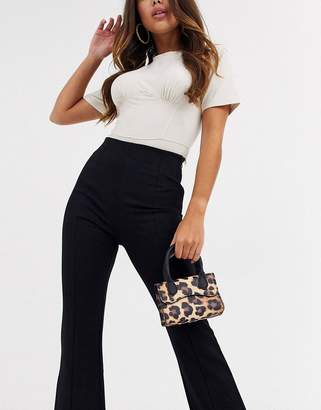 Asos Design DESIGN leopard micro grab bag with curved flap and detachable strap-Multi