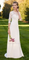 Camille La Vie Satin Lace 3/4 Sleeve Wedding Dress