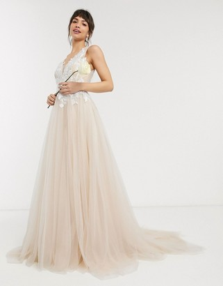 ASOS EDITION mesh wedding dress with embroidered bodice