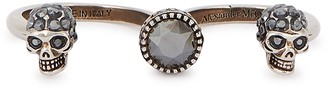 Alexander McQueen Twin Skull Silver-tone Knuckle Ring