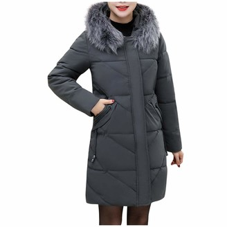 Waitfor Sale Women Feather Hooded Long Winter Coat Ladies Solid Color Plus Size Overcoat with Pockets Zipper Faux Fur Outerwear Gift for Mother Padded Overcoat Thermal Trench Coat Gray