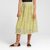 Who What Wear Women's Pleated Lace Skirt Yellow Floral
