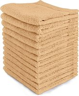 Ringspun Luxury Cotton Washcloths (12-Pack, Champagne, 12x12 Inches) - Easy Care, Fingertip Towels, Facial Towelettes, Cotton Hand Towels - by Utopia Towels