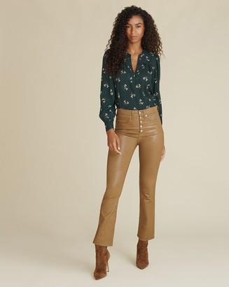 Veronica Beard Carolyn High-Rise Kick-Flare Coated Jean