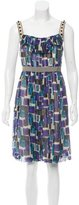 Lela Rose Silk Abstract Print Dress