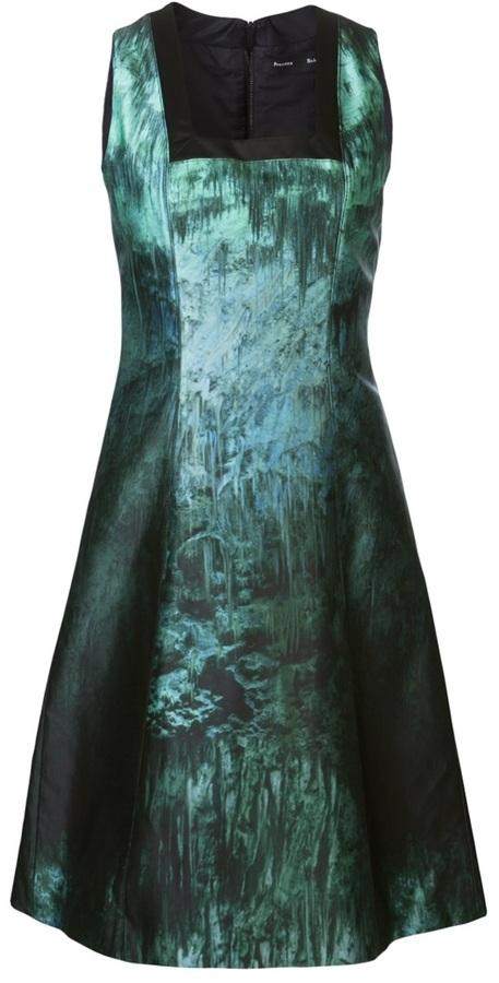 Proenza Schouler cave print square neck dress