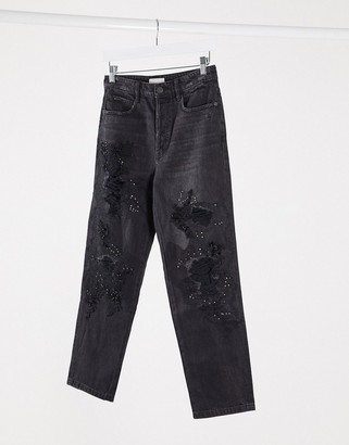 Miss Sixty Declan distressed embellished mom jeans