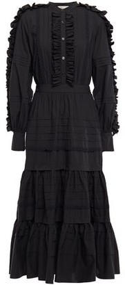 Temperley London Jade Tiered Ruffle-trimmed Cotton-poplin Midi Dress