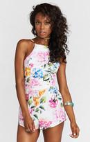 MUMU Afton Tie Back Romper ~ Bright Floral Stretch
