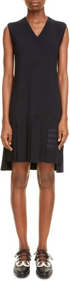 Thom Browne Pleated Drop Waist Wool Jersey Dress
