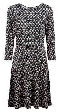Dorothy Perkins Womens Teal Geometric Print 3/4 Sleeve Fit And Flare Dress