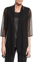 Caroline Rose 3/4-Sleeve Mesh Easy Cardigan, Black, Petite