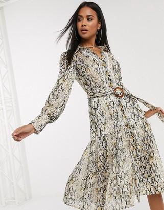 Pretty Darling belted snakeskin midi dress