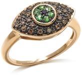 "Rarities: Fine Jewelry with Carol Brodie 10K 0.37ctw Champagne Diamond and Gem ""Evil Eye"" Ring"