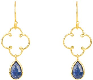 Latelita Open Clover Gemstone Drop Earring Gold Lapis Lazuli