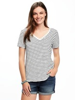 Old Navy Relaxed Slub-Knit V-Neck Tee for Women