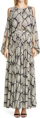 St. John Long Sleeve Silk Satin Georgette Maxi Dress