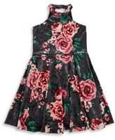 Un Deux Trois Girl's High Neck Cutout Dress