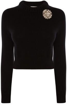 Alexander McQueen Cashmere Brooch-Detail Sweater