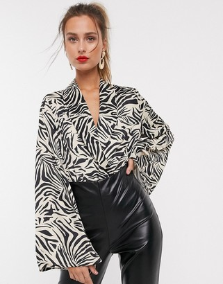UNIQUE21 wrap over abstract animal print bodysuit