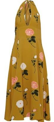 Oscar de la Renta Floral-print Washed-crepe Halterneck Midi Dress
