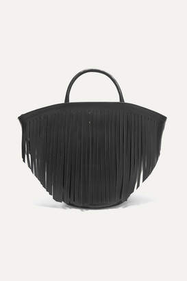 Trademark - Fringed Leather Tote - Black