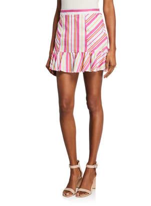 Parker Vanessa Striped Mini Ruffle Skirt