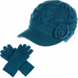 Be Your Own Style Womens Winter Elegant Cable Flower Knitted Newsboy Cabbie Cap Beret Beanie Hat with Visor Warm Plush Fleece Lined - Blue - One Size