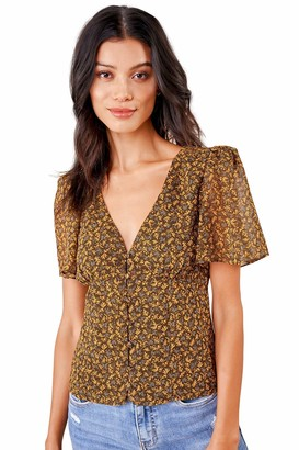 Sugar Lips Sugarlips Women's Cardamom Floral Button Down Blouse