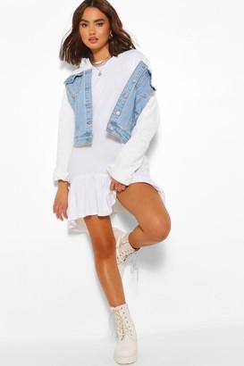 boohoo Frill Hem Asymmetric Hem T-Shirt Dress