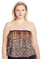 Maxine Of Hollywood Women's Plus Size Prowl Bandeau Blouson Tankini with Removable Straps
