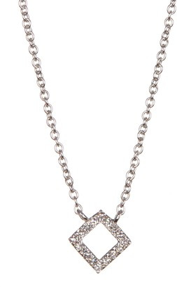 Carriere Sterling Silver Pave Diamond Pendant Necklace - 0.05 ctw
