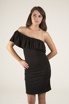 Lotta Stensson One Shoulder Ruffle Shirred Dress in Black