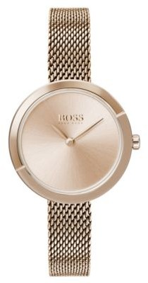 BOSS Carnation-gold-plated watch with slender mesh bracelet