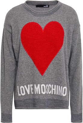 Love Moschino Boucle-appliqued Intarsia-knit Sweater