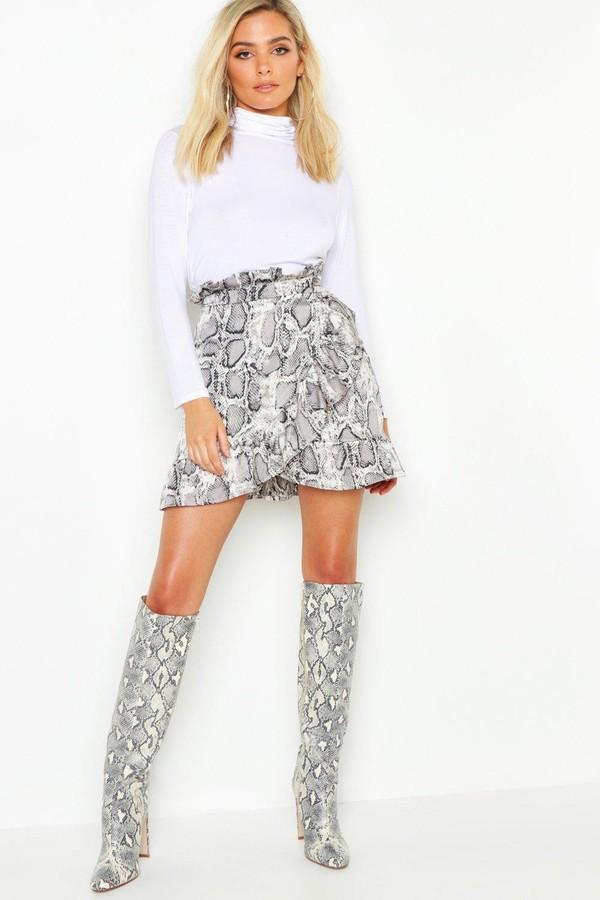 boohoo Petite Ruffle Wrap Snake Print Mini Skirt