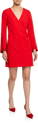 Milly Nicolette V-Neck Slit-Sleeve Sustainable Cady Dress