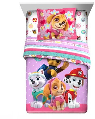Paw Patrol 2-Piece Comforter and Sham Set, Kids Bedding, Twin/Full, Pink and Purple