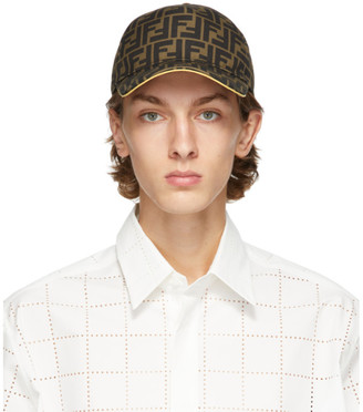 Fendi Brown and Yellow Forever Cap