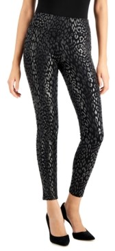 INC International Concepts Inc Petite Foiled Leopard-Print Skinny Pants, Created for Macy's