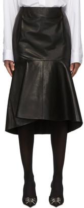 Balenciaga Black Leather Godet Skirt
