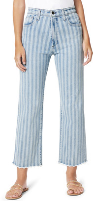 Joe's Jeans The Blake Striped Wide-Leg Jeans with Frayed Hem