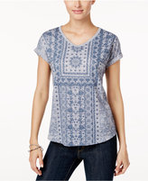 Style&Co. Style & Co Printed V-Neck T-Shirt, Only at Macy's