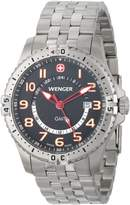 Wenger Men's 77076 Squadron GMT Black Dial Steel Bracelet Watch