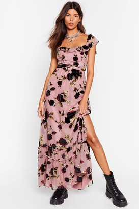 Nasty Gal Womens Rose and Conquer Floral Velvet Dress - Pink